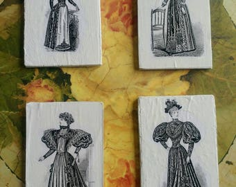 Set of 4 upcycled magnets Victorian women's fashion