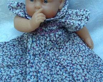 Clothing, dress has smocked Liberty Pepper doll 30 cm