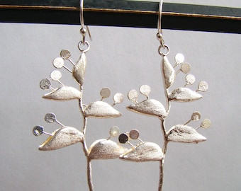 Sterling Art Modern Long Pierced Artisan Earrings