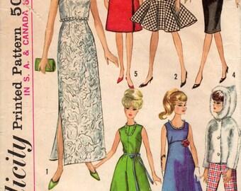 """Garde-robe de 1965 convient pour les poupées de modèle de l'adolescence comme poupée Barbie simplicité 6208 taille 11 1/2"""""""