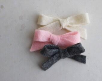 5 Different Colours- Mini Felt Classic Bow Headbands - Baby Headband, Toddler Headband, Nylon Stretch Headband, Baby Bow
