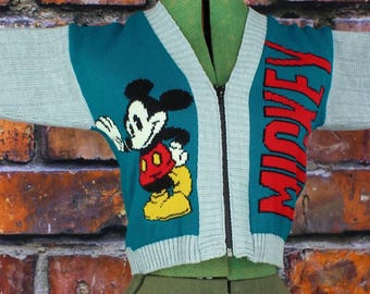 Vintage NWT 1990s Mickey Mouse Zip Up Cardigan