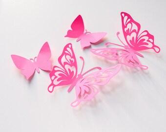 19 Paper Butterflies, Butterfly Wall Stickers, 3d Wall Decals Butterflies