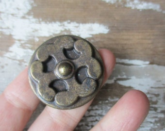 Vintage knob pull  new old stock bronze tone hardware 1950-60s Hollywood Regency style NOS ""