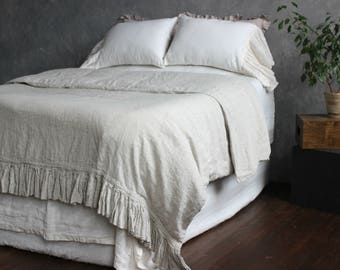 Duvet Cover with riffle One side Stone Washed Super Soft Linen for Twin Full Queen King California Softened Organic Bedding Natural Colors
