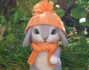 Felted toy, toy bunny, Felt toy, needle felted toy, needle felted rabbit. Wool animal.(MADE TO ORDER).