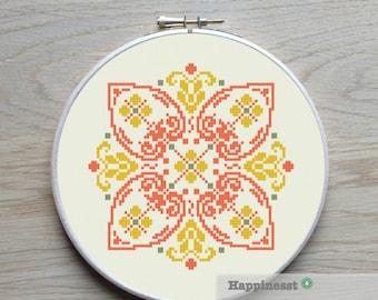 modern cross stitch pattern, geometric bohemian ornament, PDF ** instant download**