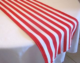 Red and White Stripe Table Runner, Circus Party, Pirate party, Wedding, Bridal Shower, Baby Shower, Circus, Dr.Suess