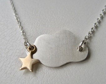 Cloud Necklace, Celestial Jewelry, Sterling Silver Cloud Jewelry, Silver Cloud Gold Star,Friendship Jewelry,Gift For women, Gift For Her