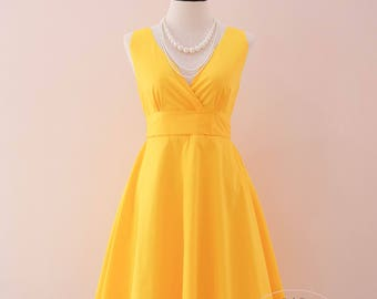Yellow bridesmaid dress Yellow Prom dress vintage Yellow dress yellow party dress sundress tea dress wedding guest dress summer dress