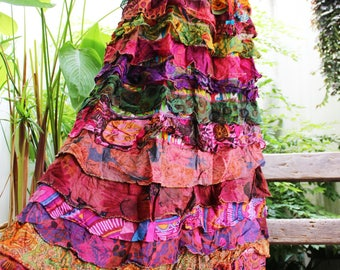 ARIEL ON EARTH - Patchwork Floral Printed Cotton Ruffle Tiered Skirt - SH1710-10