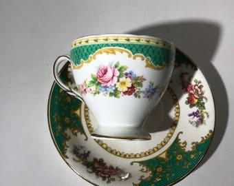 Bridgood floral teacup and saucer