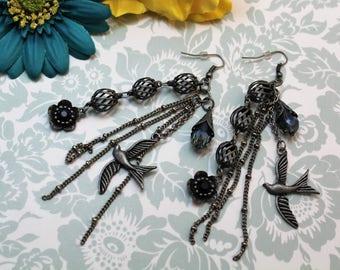 Dangle Earrings, Gunmetal Dangle Earrings, Blue Dangle Earrings, Dove Earrings, Earrings, Fish Hook Earrings, Chandelier Earrings