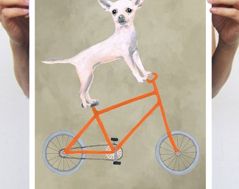 Chihuahua painting, print from original painting by Coco de Paris: Chihuahua on bicycle