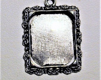 10pc Silver Picture Frame Charms 20mm x 16mm  C205