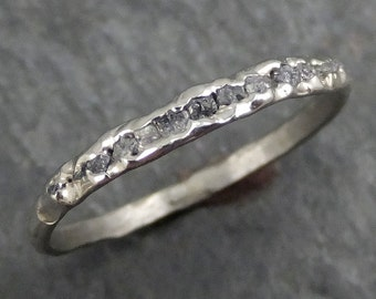 Raw Rough Uncut Diamond Wedding Band 14k white Gold Diamond Wedding Ring byAngeline C0371