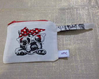 Mini zippered bag.  Pretty puppy. 11cm  x 9cm. Black lining. Cream back. Washable. Ideal for coins, lipstick,etc.