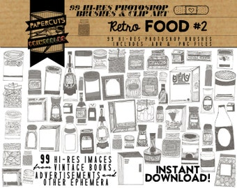 Retro Food #2 - 99 Hi-Res Photoshop Brushes / Clip Art / Image Pack - Includes .ABR and .PNG Files