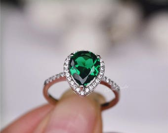 for women wedding item emerald ring silver sterling fine gift jewelry rings emrald lanzyo
