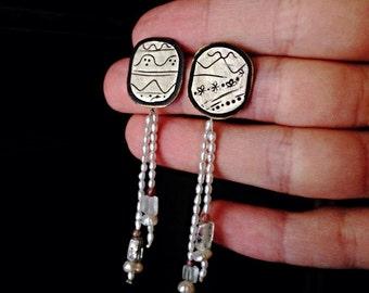 Romantic Earrings| Elegant, classy, embossed, engraved, designs, movement, drops| Stand earrings| Motive |Silver, freshwater Pearls