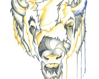 Watercolour Buffalo Print - 'Buffalo Wallows'