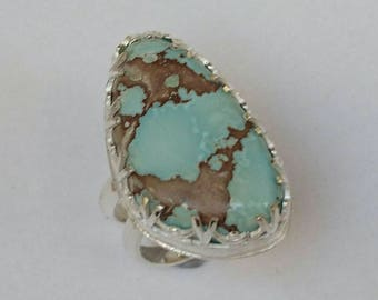 Sterling silver handmade chunky red river turquoise ring, hallmarked in Edinburgh
