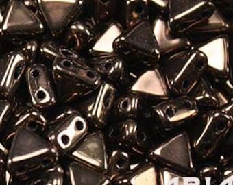 JET BRONZE: Kheops par Puca Two-Hole Triangle Czech Glass Beads, 6x6mm (10 grams)