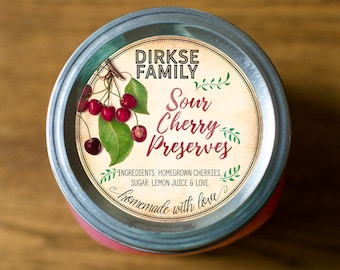 Customized Label - Cherry Jam, Jelly, Preserves, Canning Jar Label - Wide Mouth & Regular Mouth - Vintage - All Text is Customizable