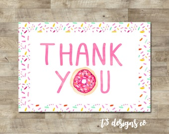 Donut thank you card, Doughnut thank you, sprinkle doughnut thank you, donut birthday party, T19