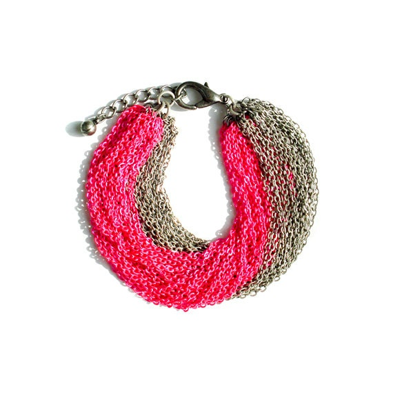 Multi Strand Chain Bracelet - Neon Pink