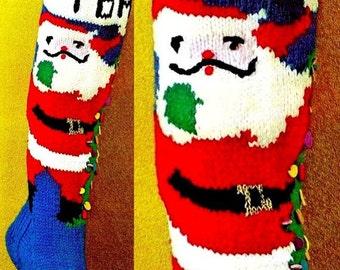 "Vintage Knit ""CHRISTMAS TREE"" Santa Stocking - PDF Pattern"