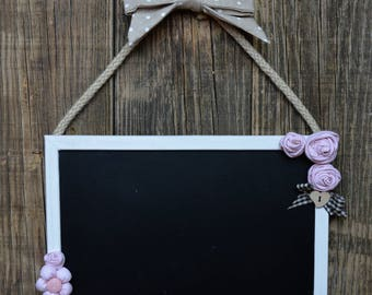 Slate with roses in shabby chic style