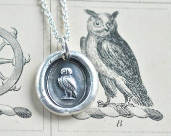 owl wax seal necklace - silver antique wax seal jewelry