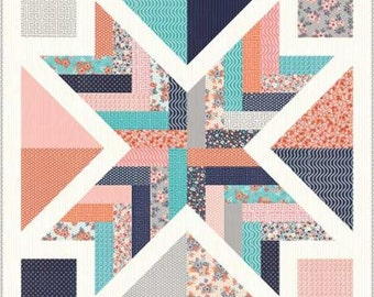"Sweet Marion Starburst Quilt Kit by April Rosenthal of Prairie Grass Patterns for Moda Fabrics, 41"" x 41"" when finishedd"