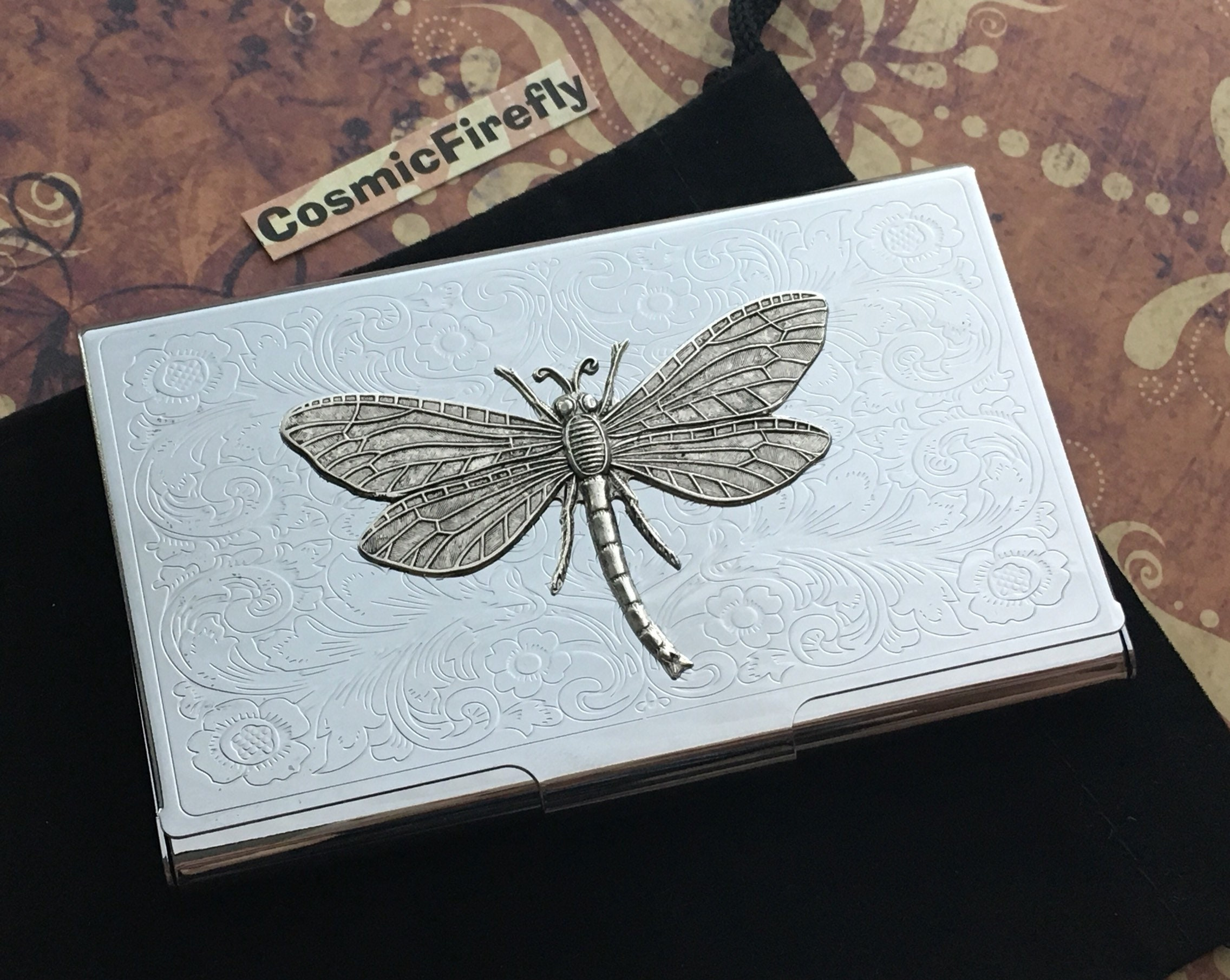 Old Fashioned Dragonfly Business Card Holder Model - Business Card ...