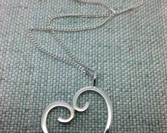 Heart pendant in stirling silver, handmade, choice of chain length, gift boxed.