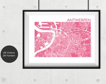 ANTWERPEN City Map, ANTWERPEN Travel Map, Modern Wall Art, ANTWERPEN Street Map, Antwerpen Print, Custom City Map, Office Decor,souvenir