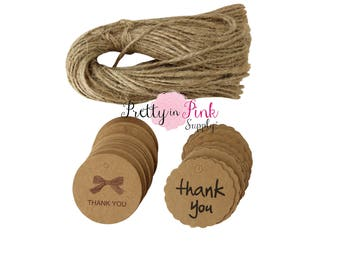 Thank You Tag with Jute Rope- Paper Supplies- DIY- Two Styles-Wedding Favor- Small Tags-Gift Tags