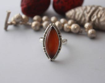 Spunned Red Onyx ring set in Sterling silver