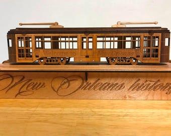 Laser cut New Orleans Streetcar