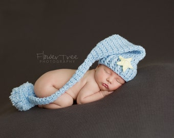 Newborn Elf Hat, Newborn Sleepy Time Hat, Newborn Photo Prop, Crochet Baby Hat, Infant Pom Pom Hat, Mr Sandman Hat, Newborn Stocking Cap
