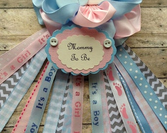 Pink and Blue Mommy To Be Corsage Twins Baby Shower Corsage Gender Reveal Mom Badge Twins Mom Corsage