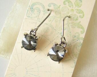 SALE! Black diamond gray grey rivoli crystal earrings