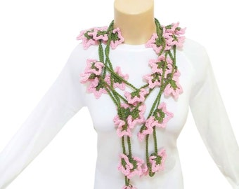 Crochet lariat floral scarf, cute infinity eternity scarf, long crochet necklace, pink and green spring scarf necklace, gift for her