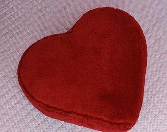 Red faux fur heart shaped ottoman