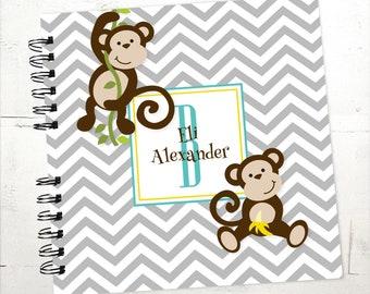 Baby Book |  Baby Memory Album | Monkey Grey Chevron Personalized Wire Bound Baby Memory Book Keepsake Album