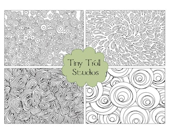 Abstract Coloring Postcards Tags- Set of 4 to Print and Color - Digital Download