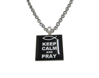 Black Keep Calm and Pray Pendant Necklace