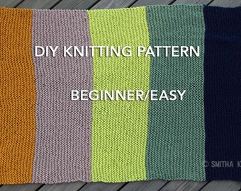DIY KNITTING PATTERN, Easy/ Beginner, Chunky Blanket, 5 Color knit, Striped Afghan, blanket knitting, blanket pattern
