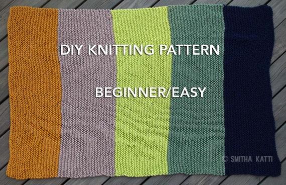 Diy Knitting Pattern Easy Beginner Chunky Blanket 5 Color